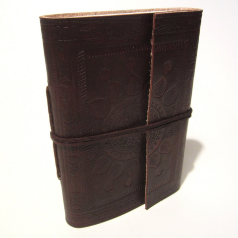 Medium Embossed Leather Journal Notebook