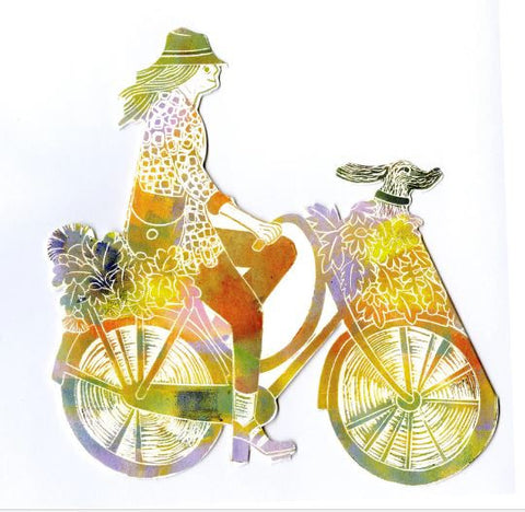 3D Greetings Card 'Girl on Bike'