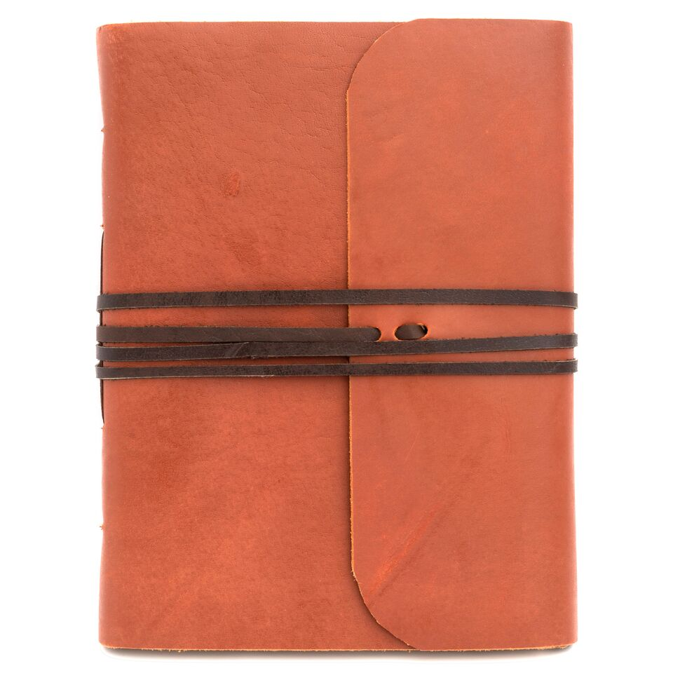 Goat Leather Journal Notebook with Brown Wrap, 4 sizes to choose from