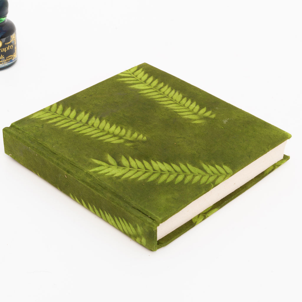 6x6 Green Lokta Covered Journal made with Handmade Paper