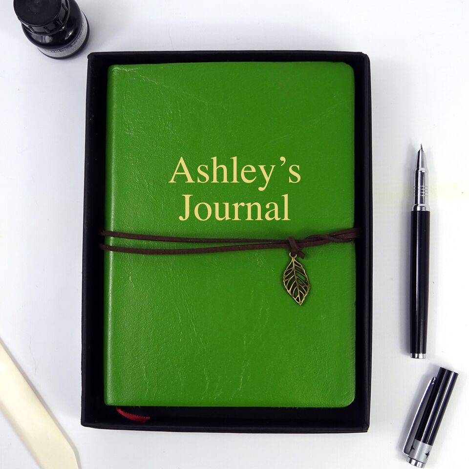 Personalised Green Leather Journal, Sketchbook, Journal, Diary with Plain Cartridge Pages