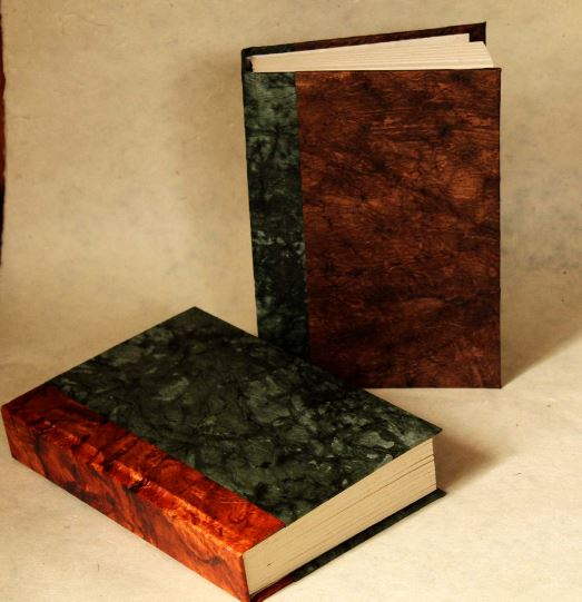 Rustic Journal/Notebook,, Green and Brown Hard Cover, 80 Heavy Weight Lokta Pages