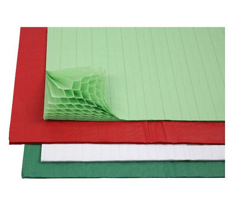 Honeycomb Paper in Green/Red/White, pack of 8