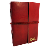 Personalised Real Leather Journal Notebook with, Handmade Cotton Rag pages