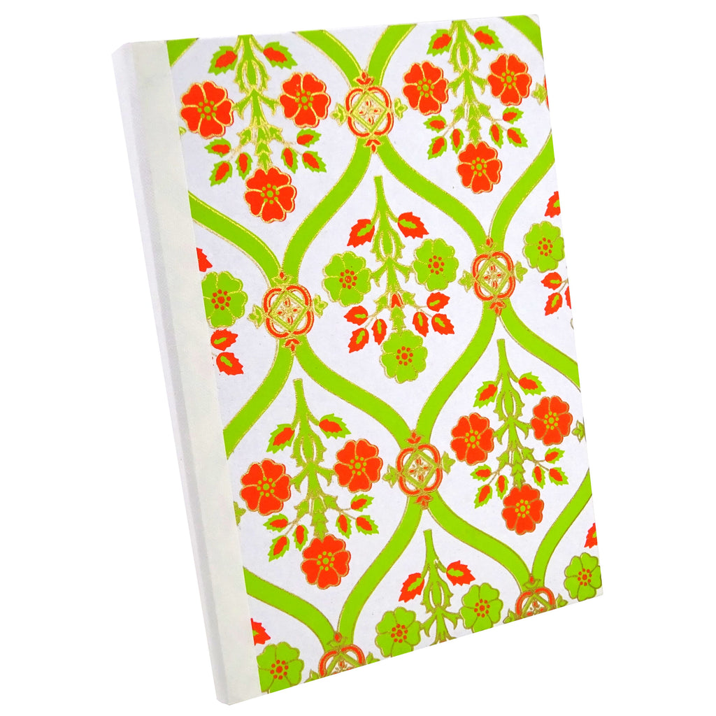 Lime Green and Orange Florentine, Notebook Sketchbook Bullet Journal, A5 Perfect Bound, Optional Inside Pages, Handmade