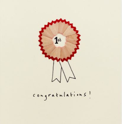 Pencil Shaving Card, Congratulations Rosette
