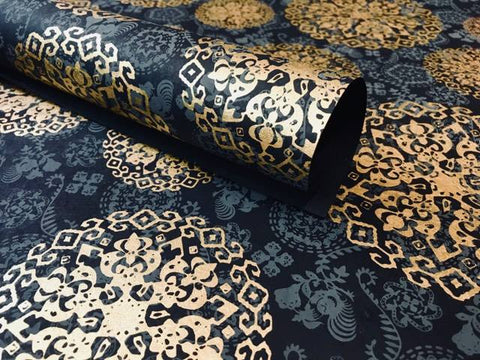 Black 'Medallion' Print, Handmade Cotton Rag Paper, Gift Wrap