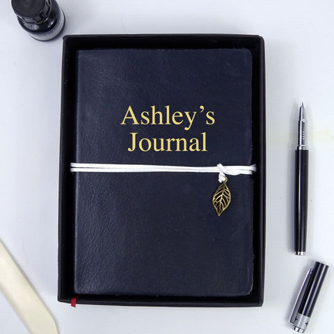 Personalised Navy Blue Leather Journal, Sketchbook, Journal, Diary with Plain Cartridge Pages