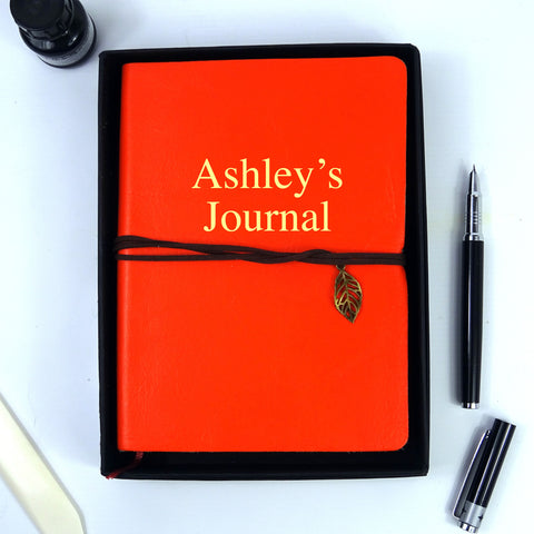Personalised Orange Leather Journal, Sketchbook, Journal, Diary with Plain Cartridge Pages