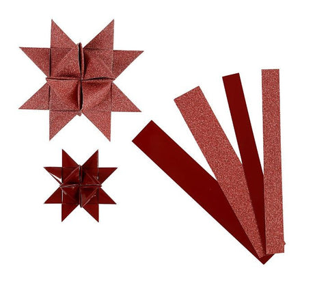 3D Paper Star Strips, Red