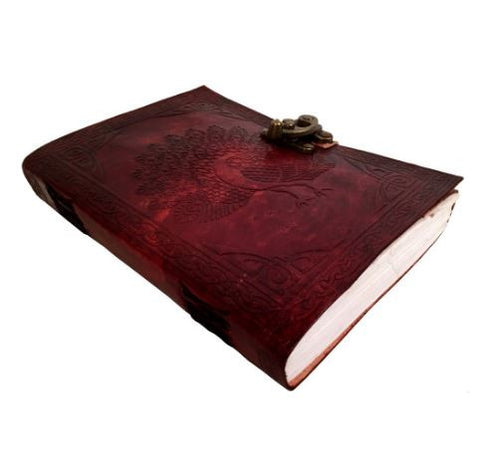 Peacock Leather Notebook, Travel Journal, Embossed, Cotton Paper Pages