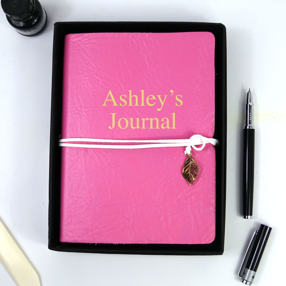 Personalised Pink Leather Journal, Sketchbook, Journal, Diary with Plain Cartridge Pages