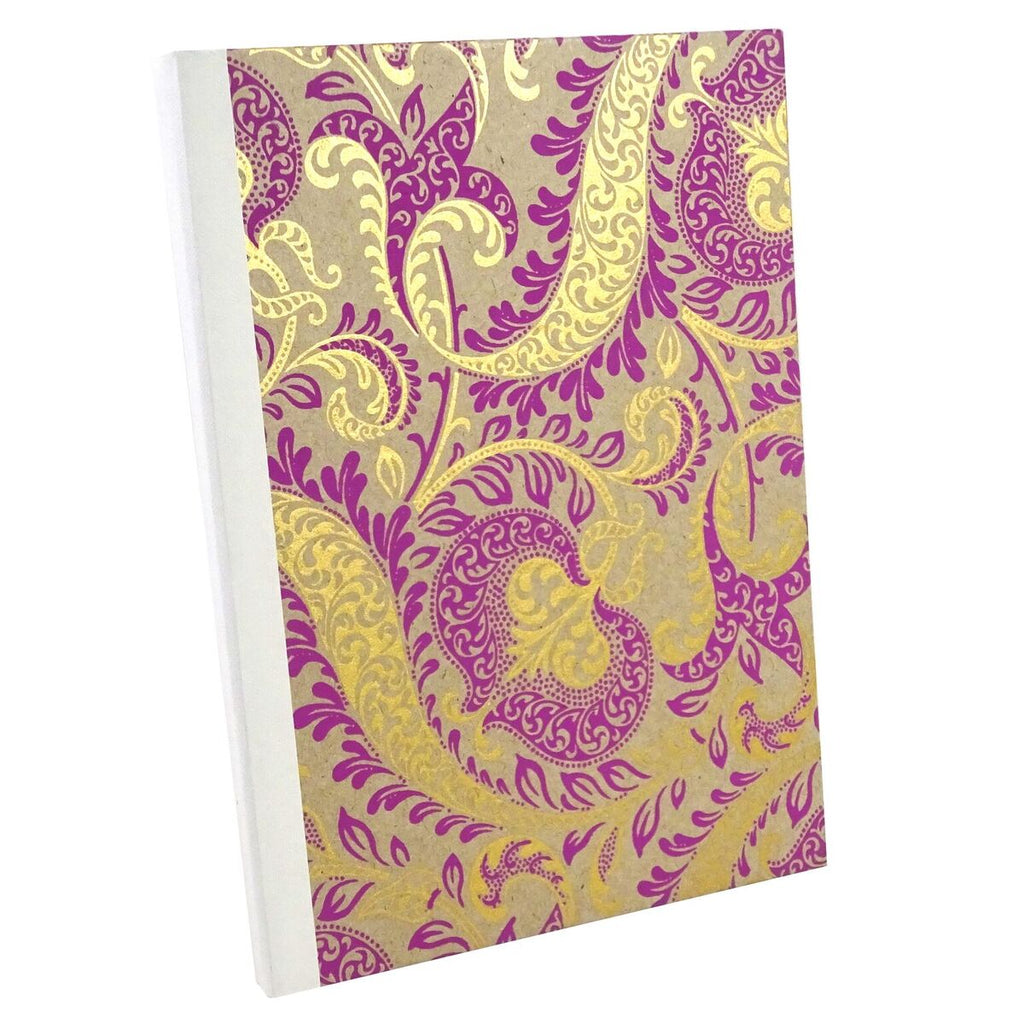 Pink and Gold Paisley, Notebook Sketchbook Bullet Journal, A5 Perfect Bound, Optional Inside Pages, Handmade