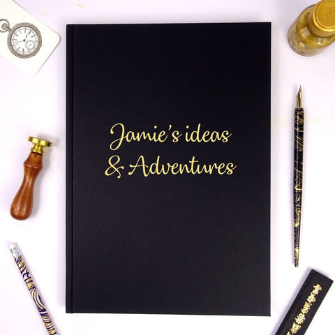 Personalised Black A4/A5 Portrait Sketchbook/Scrapbook/Notebook with Gold Lettering