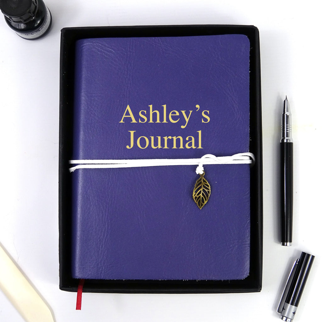 Personalised Purple Leather Journal, Sketchbook, Journal, Diary with Plain Cartridge Pages