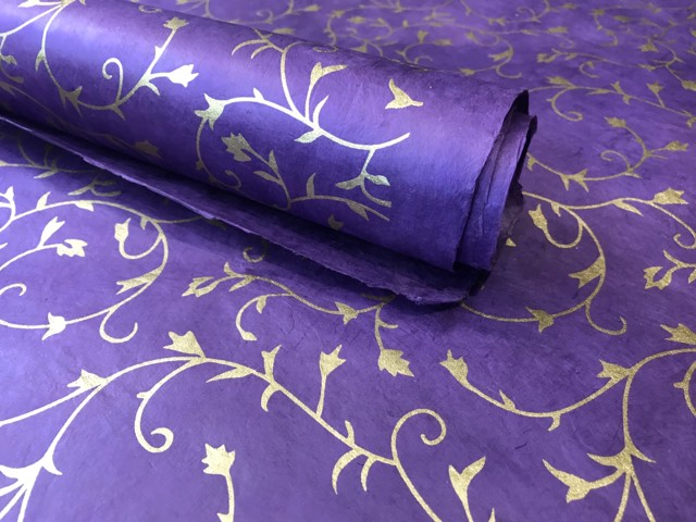 Purple and Gold Floral Ivy Design, Handmade Himalayan Nepalese Lokta Paper Sheet, for Gift Wrap, Collage, Scrapbooking 50x75cm
