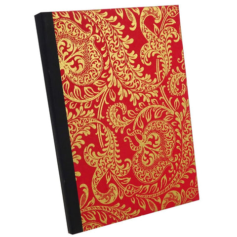 Red and Gold Paisley, Notebook Sketchbook Bullet Journal, A5 Perfect Bound, Optional Inside Pages, Handmade