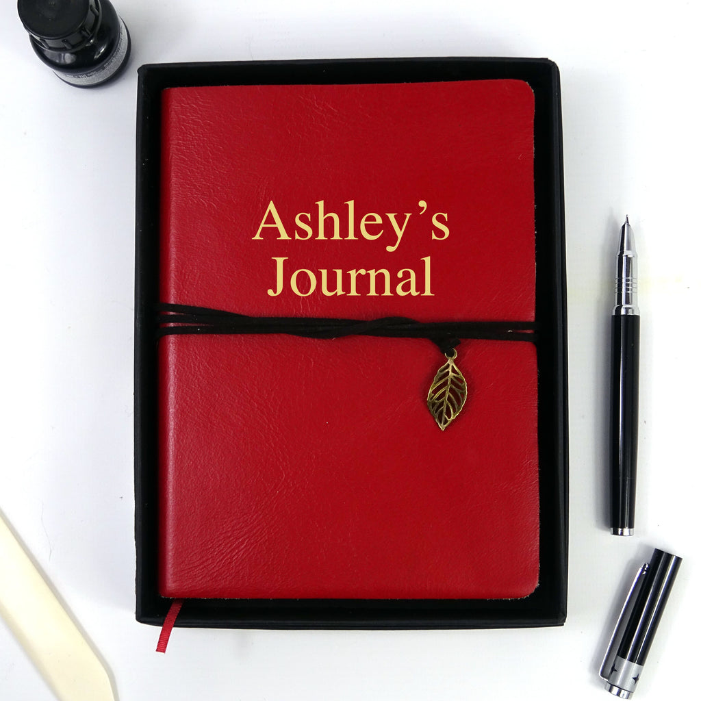 Personalised Red Leather Journal, Sketchbook, Journal, Diary with Plain Cartridge Pages