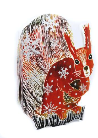 3D Greetings Card 'Red Squirrel'