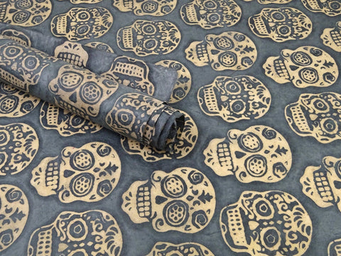 Batik Skull Batik Waxed Lokta Paper Sheet, for Gift Wrap, 50x75cm