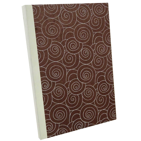 Spiral Pattern Brown, Notebook Sketchbook Bullet Journal, A5 Perfect Bound, Optional Inside Pages, Handmade