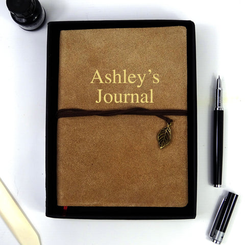 Personalised Suede Leather Journal, Sketchbook, Journal, Diary with Plain Cartridge Pages