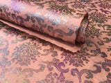 Tibetan Iridescent Rose Design on Pink Lokta Paper Sheet Handmade Gift Wrap
