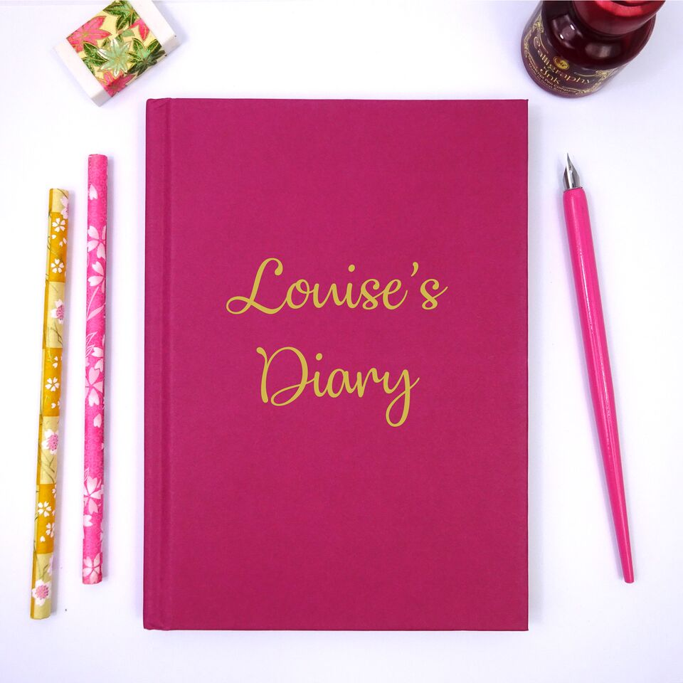 Personalised A5 Cerise Pink Lined Notebook with Gold Lettering
