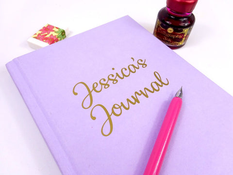Personalised A5 Lilac Purple Lined Notebook with Gold Lettering
