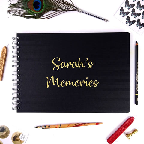 Personalised Black A3/A4/A5 Wire-Bound Landscape Scrapbook/Photo Album with Gold Lettering