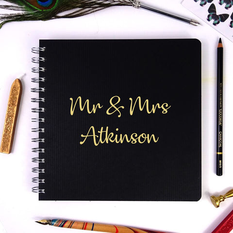 Personalised Black Square Wire-Bound Landscape Scrapbook/Photo Album with Gold Lettering