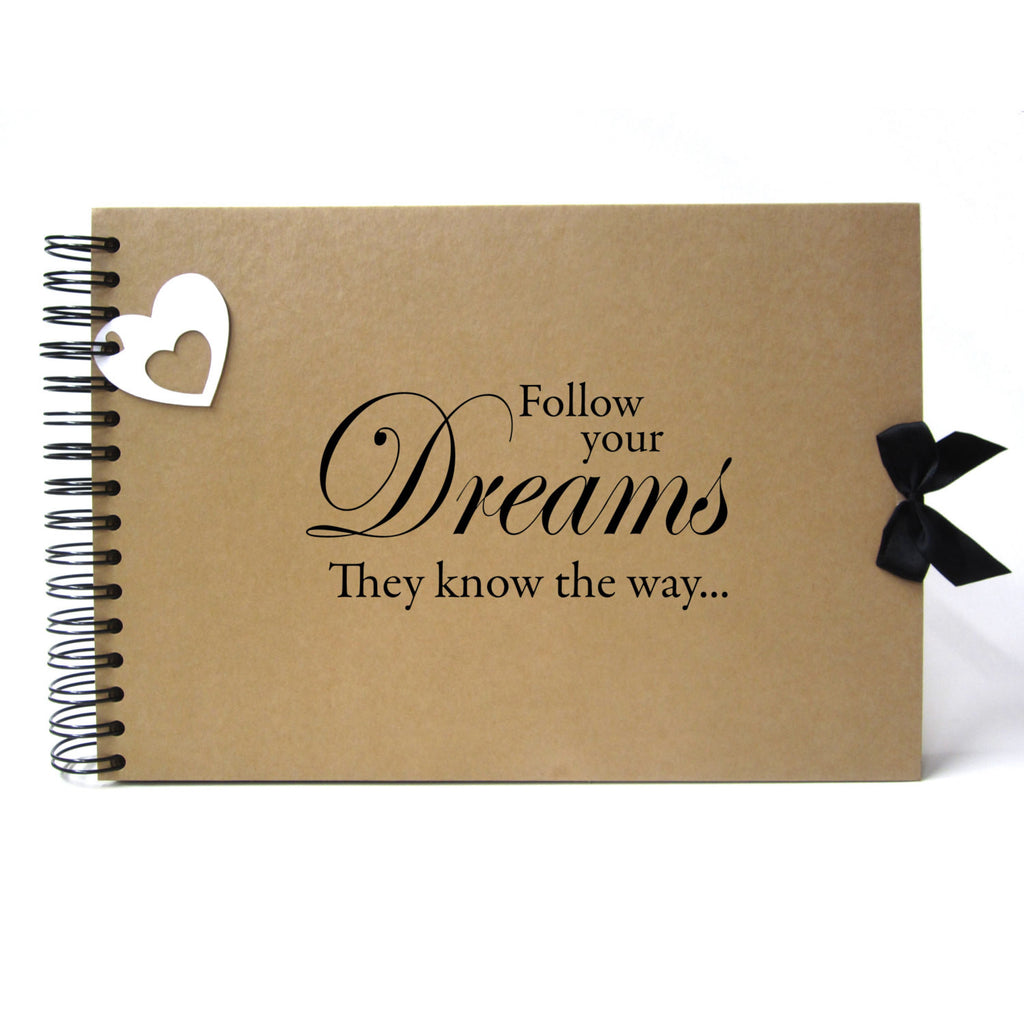 Scrapbook, A5 A4 Follow Your Dreams They Know the Way, Landscape, Card Pages, Photo Album Keepsake