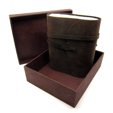 Pocket Boxed Buffalo Leather Journal/Notebook, Natural Lokta Pages, Handmade Casing, Diary Gift