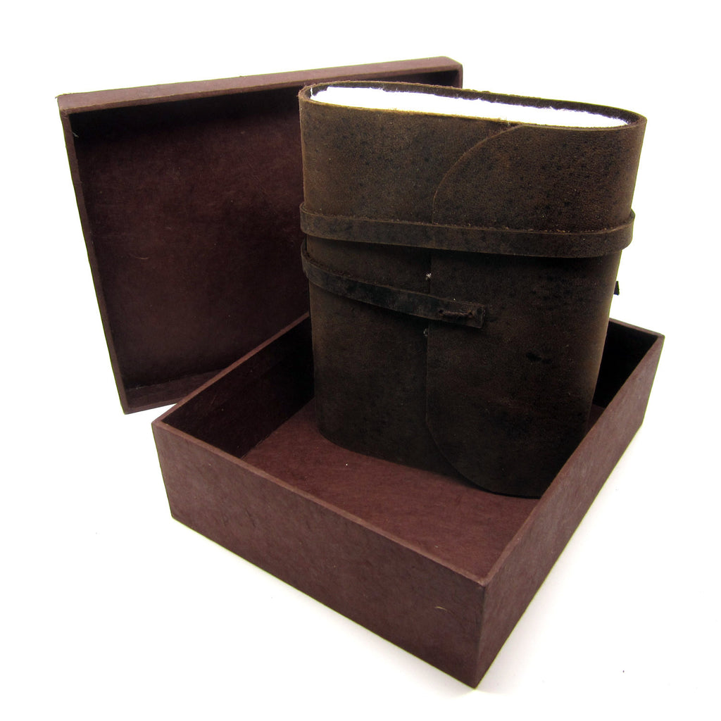 Extra Large Boxed Buffalo Leather Journal/Notebook, Natural Lokta Pages, Handmade Casing, Diary Gift