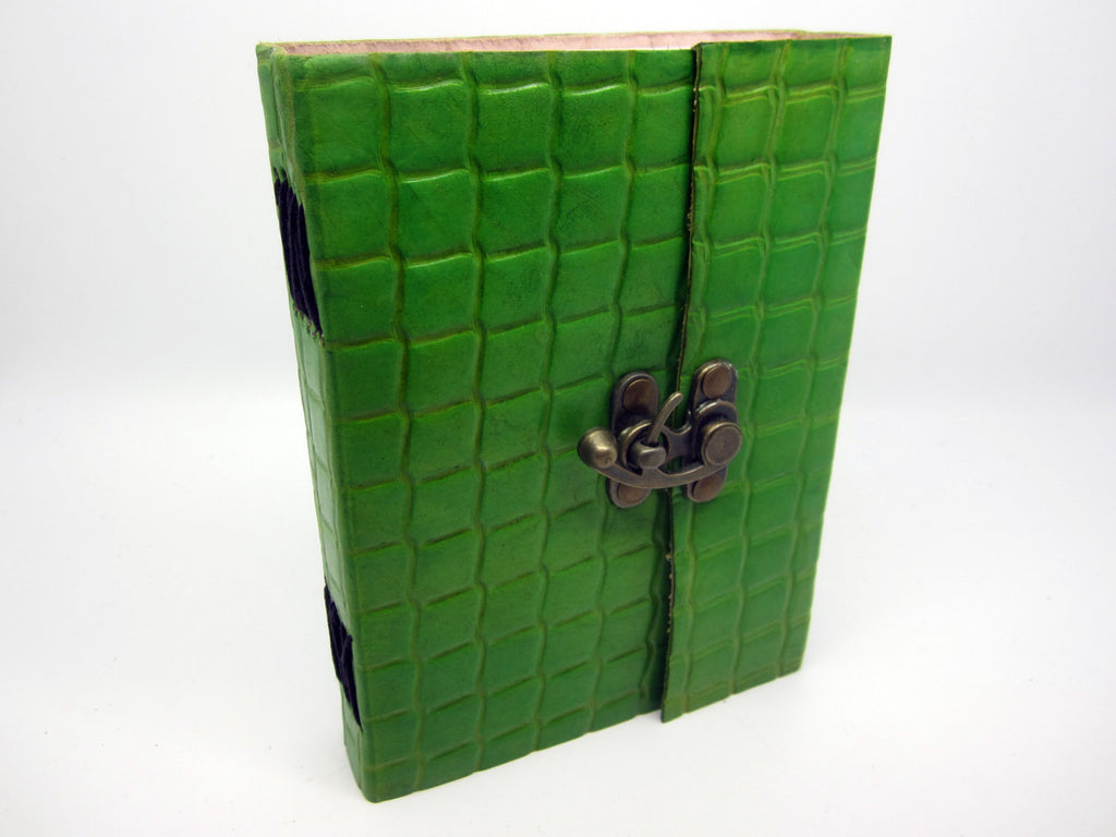Light Green Leather Journal Diary, Notebook, Real Leather, Embossed, Scales, Cotton Pages, A5