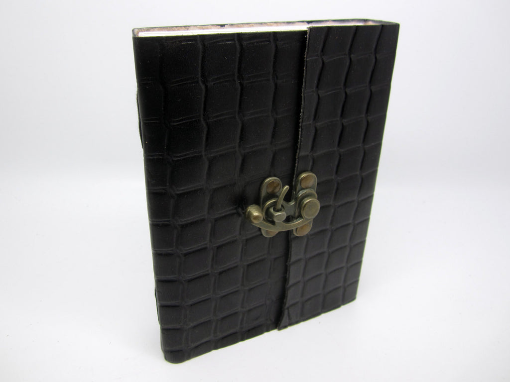 Black Leather Journal Diary, Notebook, Real Leather, Embossed, Scales, Cotton Pages, A5