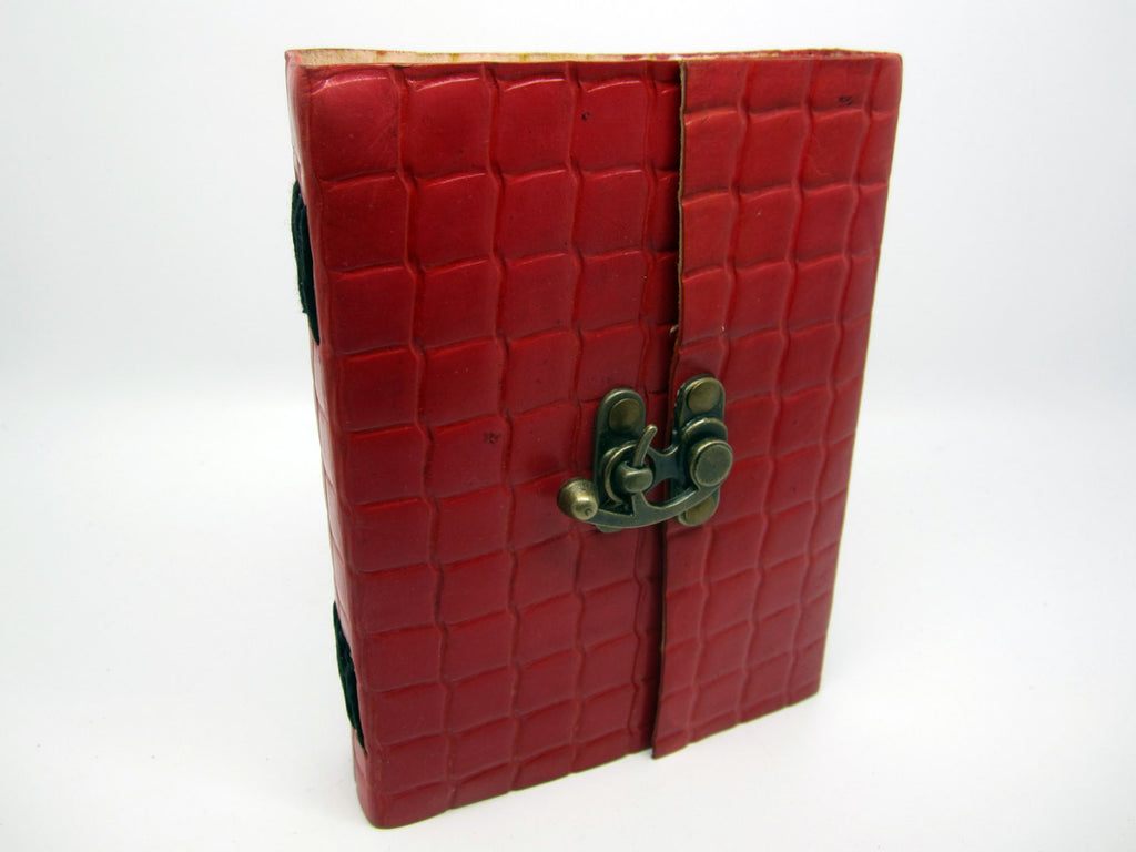 Red Leather Journal Diary, Notebook, Real Leather, Embossed, Scales, Cotton Pages, A5