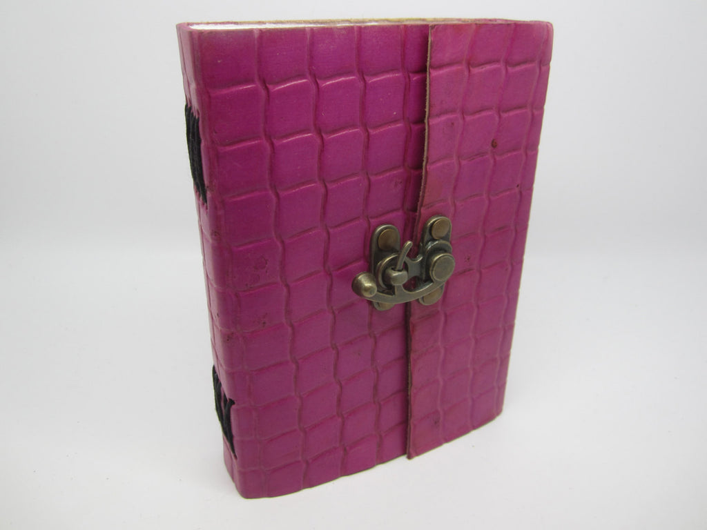 Pink Leather Journal Diary, Notebook, Real Leather, Embossed, Scales, Cotton Pages, A5