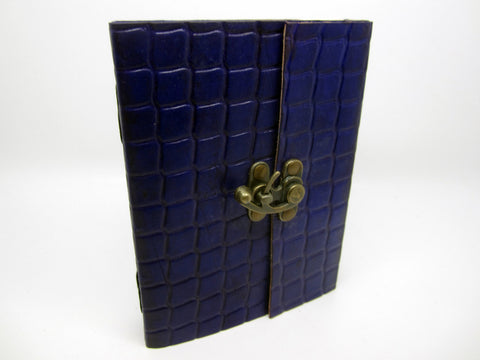 Purple Leather Journal Diary, Notebook, Real Leather, Embossed, Scales, Cotton Pages, A5