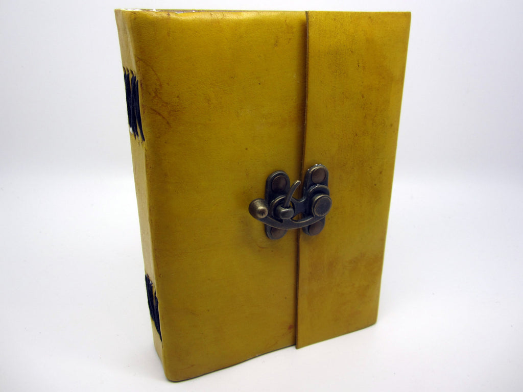 Yellow Leather Journal Diary, Notebook, Real Leather, Cotton Pages, A5