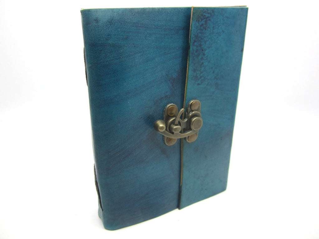 Sea Blue Leather Journal Diary, Notebook, Real Leather, Cotton Pages, A5