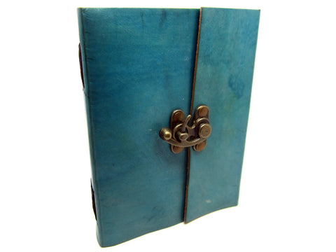 Light Blue Leather Journal Diary, Notebook, Real Leather, Cotton Pages, A5
