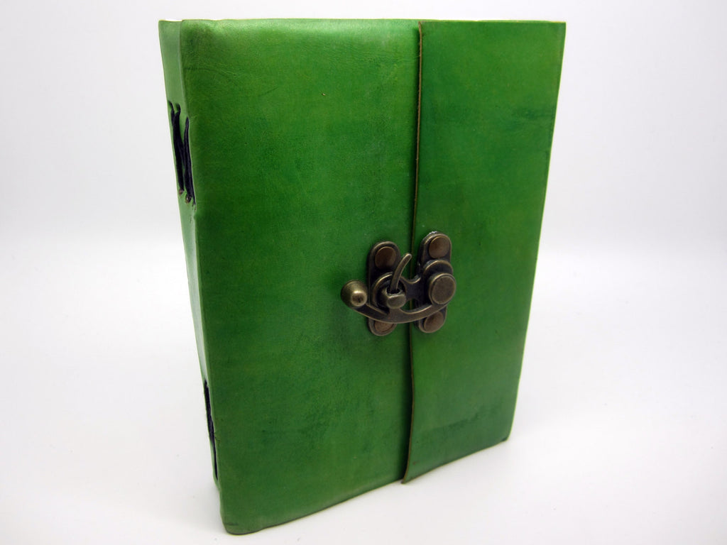 Light Green Leather Journal Diary, Notebook, Real Leather, Cotton Pages, A5