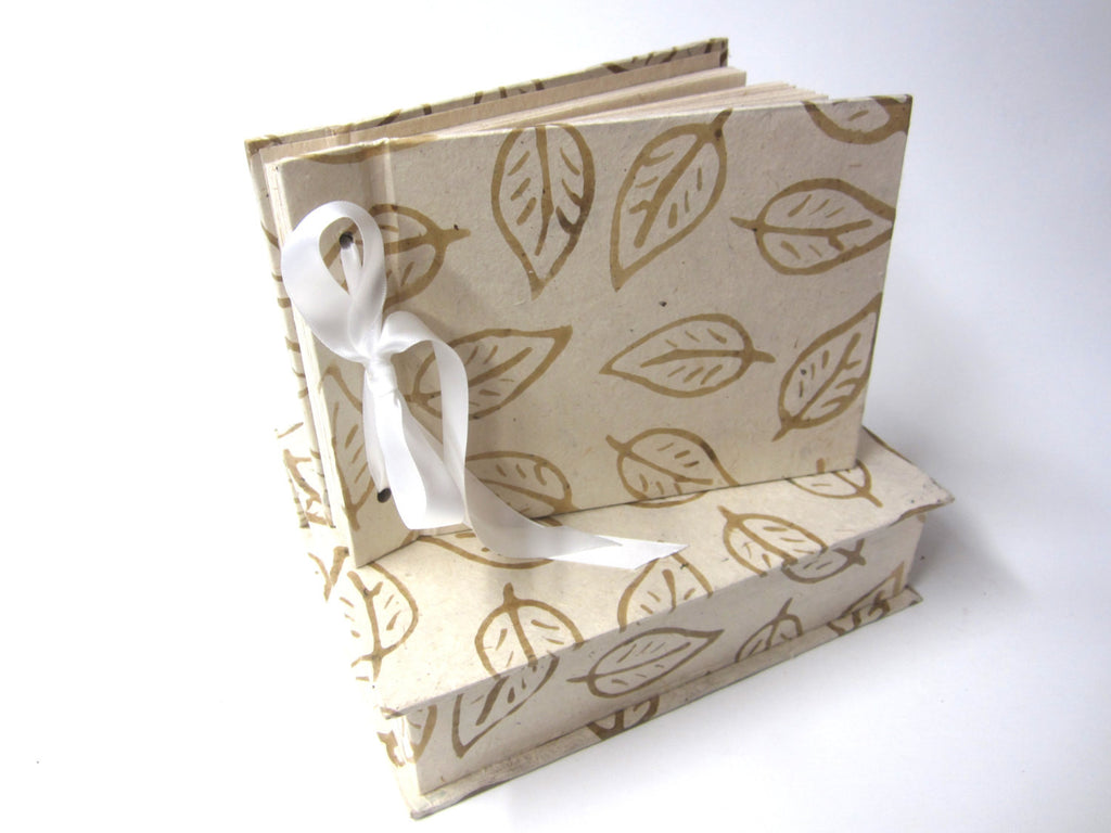Cream Boxed Leaf Scrapbook, Photo Album, Guestbook, Natural Lokta, Ribbon Tie, Wedding