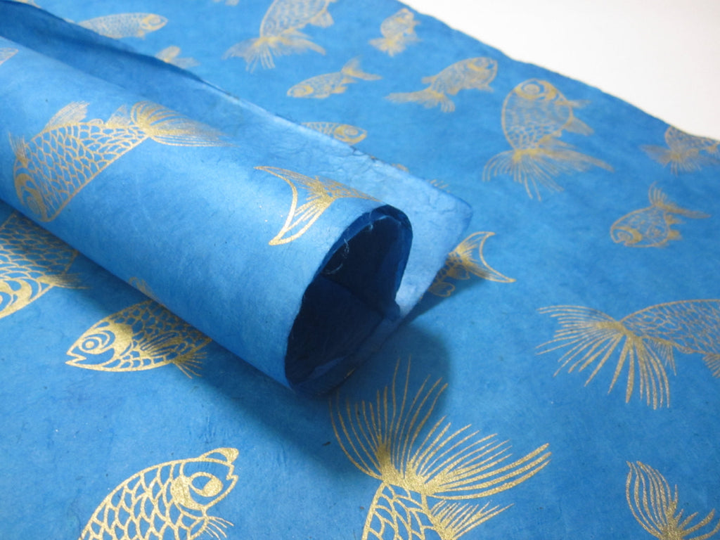 Blue Gold Fish Handmade Lokta Paper Sheet, for Gift Wrap, Collage, Scrapbooking 50x75cm