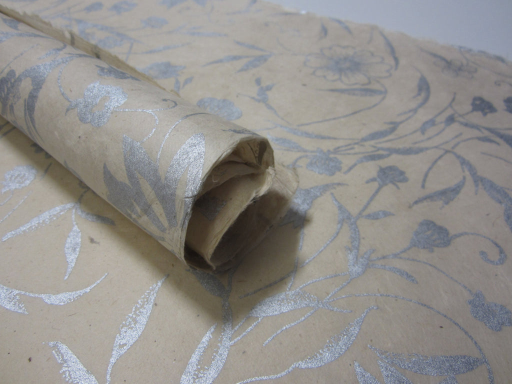 Silver Natural Flower Handmade Lokta Paper Sheet, for Gift Wrap, Collage, Scrapbooking 50x75cm