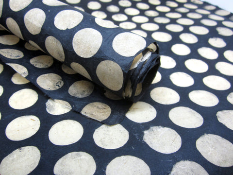 Black Cream Polka Dots Handmade Batik Waxed Lokta Paper Sheet, for Gift Wrap, Collage, Scrapbooking 50x75cm