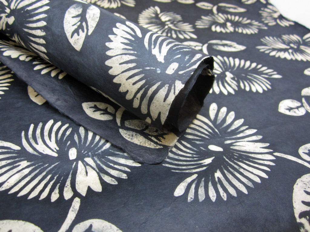 Black Cream Floral Handmade Batik Waxed Lokta Paper Sheet, for Gift Wrap, Collage, Scrapbooking 50x75cm