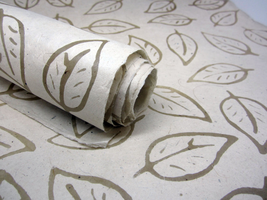 Cream Leaf Design, Handmade Batik Waxed Lokta Paper Sheet, for Gift Wrap, Collage, Scrapbooking 50x75cm