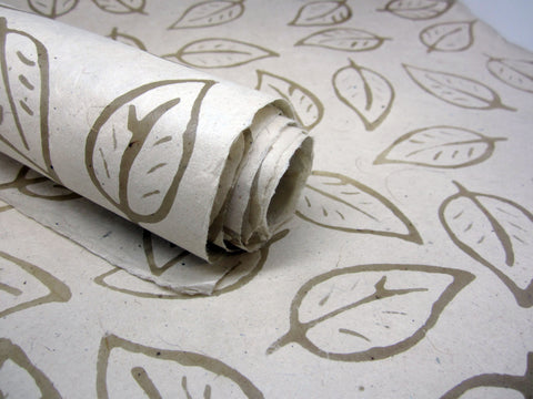 Cream Leaf Design, Handmade Batik Waxed Lokta Paper Sheet, Gift Wrap, 50x75cm